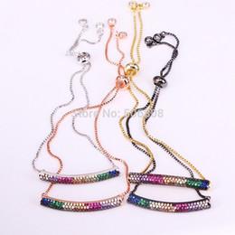 $enCountryForm.capitalKeyWord Australia - 6PCS ZYZ-B6961 Micro Pave CZ Zircon Thick Bar Charm Bracelet Femme Adjustable Chain Family Bracelets Jewelry for Women Girls