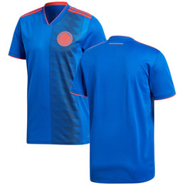 fcc20fa85 Men Colombia League National Team Soccer 2018 Away Replica Blank Football  Jersey Blue Red Shirts Size S-XL