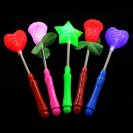 Wholesale Kids Glow Wands Australia - LED flashing light up sticks glowing rose star heart magic wands party night activities Concert carnivals Props birthday Halloween gifts