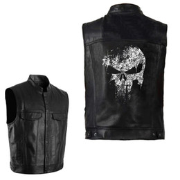 Wholesale leather vest men motorcycle resale online - PU Vests Men Leather Skull Hip Hop Sleeveless Jackets Punk Rock Waistcoat Streetwear Outerwear Biker Motorcycle Locomotive Coats