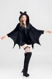 Funny Movie Halloween Costumes Australia - Women Cosplay Dress Bat Vampire Cos Theme Costume Halloween Funny Sexy Hooded Tops with Bat Wings