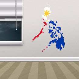 wall flags Canada - Philippine Flag Map of Philippines Wall Vinyl Sticker Custom Home Decoration Wall Sticker Wedding Decoration PVC Wallpaper Fashion Design