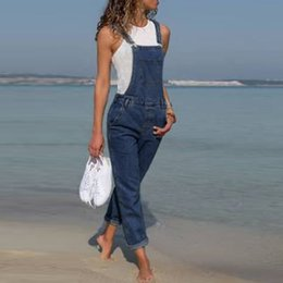 Woman Fashion Fitted Jumpsuit Australia - Women's Woman Jumpsuits Baggy Denim Dungarees Ladies Slim Fit Jeans Female Overall Pants Casual Long Trousers J190626