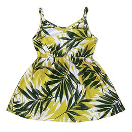 Wholesale Baby Girl Sling Dress Kids Summer Printed Backless Knee Length Mini Pleated Beach Dress Kids Designer Clothes Girls Girls Sling Dresses T