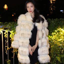 Diamond Stitch Jacket Australia - Women Fur Coat Winter Long Faux Fox Fur Crystal Panel Blingbling Coats Furry Luxury Womens Fake Jacket Faux Coat Jacket
