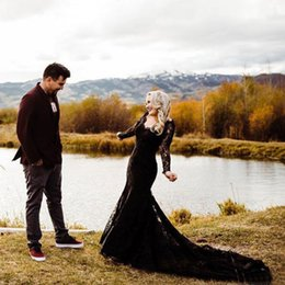 black gothic mermaid wedding dresses UK - Black Gothic Wedding Dresses Mermaid Long Sleeves Lace Boho Open Back Bohemian Wedding Gowns Vintage Bride Dress