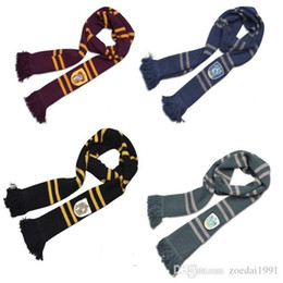 $enCountryForm.capitalKeyWord Australia - 190cm Length Gryffindor Slytherin Ravenclaw Hufflepuff House 4 Color 100% Original Version Cosplay Scarf Warm Knit Scarf Sale