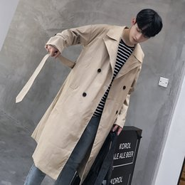 green jacket double breasted mens Canada - khaki trench coat men Double Breasted long coat korean trench coat fashion mens overcoat plus long green casual male long jacket CJ191128