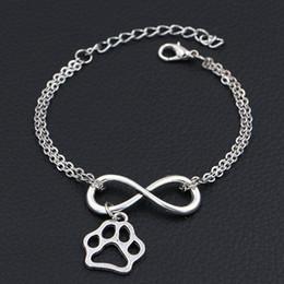 $enCountryForm.capitalKeyWord Australia - Silver Color Double Infinity Love Cat Dog Paw Prints Pet Footprint Pendant Jewelry for Women Men Link Chain Adjustable Bracelet Bangles Gift