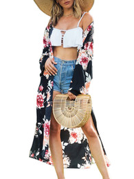 c9e0eb334e Wholesale Kimonos UK - 2019 Summer Kimono Cardigan Fashion New Women  Vintage Floral Print Open Front