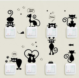 $enCountryForm.capitalKeyWord Australia - Lovely Cat Light Switch Phone Wall Stickers For Kids Rooms Diy Home Decoration Cartoon Animals Wall Decals Pvc Mural Art