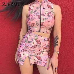 $enCountryForm.capitalKeyWord NZ - Harajuku Printed 2 Piece Set Women Sleeveless Zipper Crop Tops + High Waist Split Mini Pencil Skirt Cute Summer Matching Sets