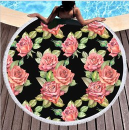 Discount thick yoga mats wholesale - Round Beach Towel 561 Styles Flowers Flamingo Large Round Beach Towel With Tassels Thick 150cm Soft Bath Towel Yoga Mat
