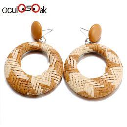 $enCountryForm.capitalKeyWord Australia - 2019 Korea Handmade Hollow Wooden Straw Weave Rattan Earring Jewelry Vine Braid Round Long Drop Earrings For Women Girls