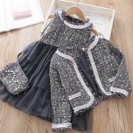 sleeveless suit for kids Australia - Winter Girls Fashion Clothing Set children's Jacket bag Dress 3 pieces Suit For Baby Plaid Coat Outfit Autumn Kids pretty cloths CJ191202