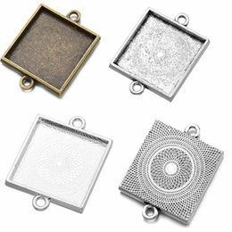 Pendant Tray Connector Australia - ilver loveheart Fit 25x25mm Square Cabochons bronze Antique Silver Cameo Cabochon Frame Bezel, Pendant Connector Tray blank 5pcs lot (K05...
