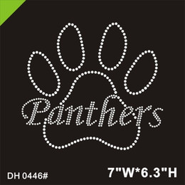 Discount paw rhinestone transfers Figure skating Panthers Paw rhinestone iron on transfer DIY DH0446#