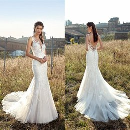 TrumpeTs for online shopping - Custom Mermaid Lace Wedding Dresses Sexy Open Back Appliques Sequins Sheer Long Tulle Bridal Gowns For Country Summer Weddings