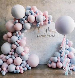 gender reveal decorations UK - Baby Gender Reveal Party Supplies Balloon Arch Garland Kit Pastel Macaron Pink Blue Latex Balloons Decoration Favor Baby Shower T200624