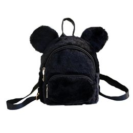 Chinese  Wobag 2018 Cute Bear Ears Mini Backpack Faux Fur Fleece Kids Girls Children School Kindergarten Shoulder Backpack manufacturers