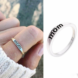 $enCountryForm.capitalKeyWord Australia - MOM Ring Women Antique Silver Plated Band Rings for Mother Wedding Party Fine Jewelry Mother's Day Gift