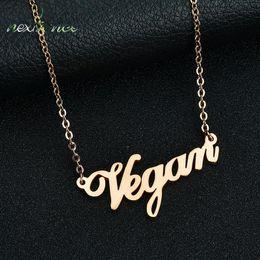 Опт Вегетарианское письмо Nextvance Ожерелье Вегетарианская символическая цепочка Колье для друга Образ жизни Подарок Койл