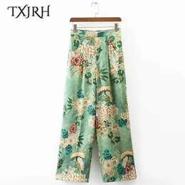 brown linen pants women NZ - Txjrh Vintage Ethnic Floral High Elastic Waist Loose Wide Leg Pants Pockets Fashion Women Full Length Pants Trousers K17-02-22 Y19051701