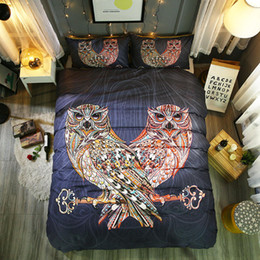 adult owl bedding 2019 - Hot 3D Printing National Animal style Owl 2 3 Pcs Bedding Set With Pillowcase 3pcs for All Size Bed cheap adult owl bedd