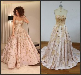 Celebrity myriam fares evening dresses online shopping - New Real Image Ball Gown Evening Dresses Sweetheart Sequins Crystal Appliques Satin Myriam Fares Celebrity Dresses Formal Prom Dress