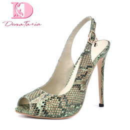 $enCountryForm.capitalKeyWord Canada - wholesale brand new green snake print plus Size 42 dropship sexy peep toe sandals women Shoes High Heels top quality shoes woman