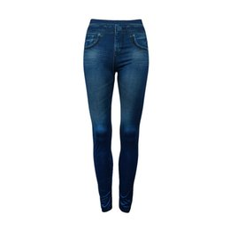 7f875db03c61b Women Denim Jeans Seamless Skinny Leggings Stretchy Slim Pants Fake Pockets  Fashion Elastic Solid Color Leggings