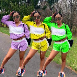 Wholesale Jacket Feather Australia - Women Patchwork Sheer Mesh Tracksuit Jacket Crop Top + Shorts Outfit Jumpsuits Summer Track Suit Wind Breaker Sports Jogger Set 2019 C41503
