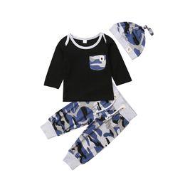 $enCountryForm.capitalKeyWord Australia - Baby Boy Clothes T-shirt Pocket Top Camo Pants Hat 3PCS Set Casual Autumn Toddler Kid Baby Boy Clothes Set Outfits