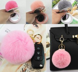 $enCountryForm.capitalKeyWord Australia - Free DHL Pompom Keychain Mirror Makeup Ball Keyring Car Cute Pendant Jewelry Ornament Pocket Keychians Jewelry For Wallet Purse G787R Y