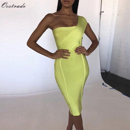 $enCountryForm.capitalKeyWord Australia - Ocstrade Celebrity Bandage Dress New Arrival 2019 Summer Women Neon Green Bandage Dress Bodycon One Shoulder Evening Party Dress T5190615