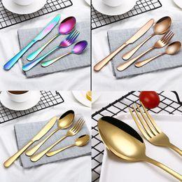 $enCountryForm.capitalKeyWord Australia - Rainbow Stainless Steel Flatware Sets Spoon Fork Knife Tea Spoon Dinnerware Set Kitchen Bar Utensil Tool