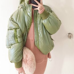 clothes puffy Australia - 2019 New Zipper Puffy Jacket Cotton Padded Coat Winter Women Tops Female Korean Warm Bright Color Hat Bread Clothes Woman G319