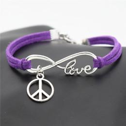 Love Peace Charms Australia - Unisex Infinity Love Peace Symbols Round Pattern PU Purple Leather Suede Wrap Cuff Bracelets & Bangles Braided Fashion Popular for Women Men