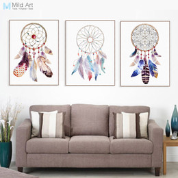 Custom Print Canvas Australia - art pictures Vintage Retro Indian Dream Catcher Feather Poster Print Nordic Living Room Wall Art Pictures Home Decor Canvas Painting Custom