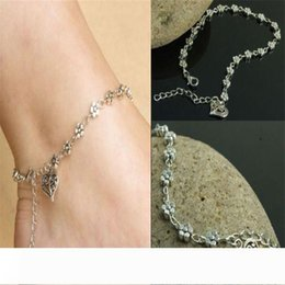 beautiful silver bracelets for girls NZ - Anklets Foot Jewelry Trendy Gift for Women Girl Foot chain Beautiful Tibetan Silver Daisy Flower Chain Anklet Ankle Bracelet Beach Jewellry
