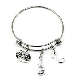 Chinese  Guitar Music Teacher Charm Bracelets Expandable Wire Bangle Bracelets Fashion DIY Jewelry Wire Bangle Adjustable Bracelet Accessories Gift manufacturers