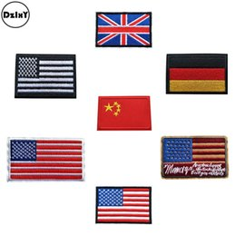 Wholesale China National flag Embroidery Patches for Clothing DIY Stripes United States Appliques Clothes Stickers Iron on Badges OO
