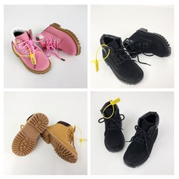 cat girl shoes Australia - Baby kids cat juniors tire leather boots children boy girl high quality classic yellow pink black outdoor casual shoes size26-35