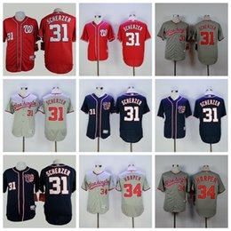 8dd56e445 Men s 2019 Washington 31 Max Scherzer 34 Bryce Harper Top Quality Custom  Nationals Stitched Baseball Jerseys