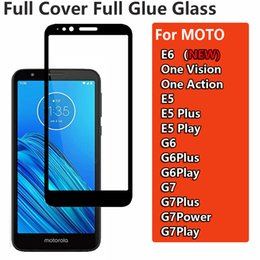 moto phone covers NZ - Full Glue Full Cover Tempered Glass Phone Screen Protector For Moto E6 ONE Version ActionMotorola E5 Plus Play G6 G7 Plus Power Play Glass