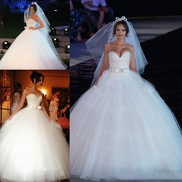 $enCountryForm.capitalKeyWord Australia - Luxury Sequin Beaded A Line wedding Dresses With Sweetheart Sash Bow Ball Gown tulle Skirt Floor Lwngth wedding Gown Custom Made