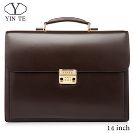 Wholesale YINTE Leather Men Briefcase Brown Bag High Quality Business Men Laptop Bag Lawyer Handbag Document Case Totes Portfolio T8158