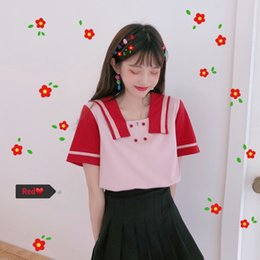 Wholesale Women s Clothing new Summer Sweet button Panelled sailor Collar Tops ulzzang Japan Korean harajuku New loose kawaii T Shirts