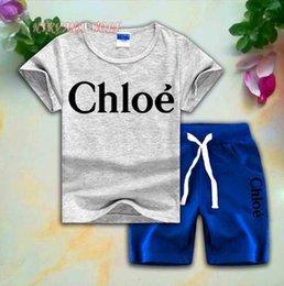 $enCountryForm.capitalKeyWord Australia - CLOE Children Sets 2-8T Kids T-shirt And Short Pants 2Pcs sets Baby Boys And Girls 95% Cotton Letter Design Printing Style Summer Sets