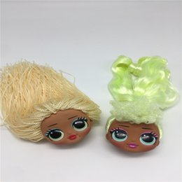 hair sisters wholesale UK - Fashion Sister Big Doll Heads For DIY Lols Doll Toy Heads Green Hair Yellow Hair Collection Doll Toy Heads